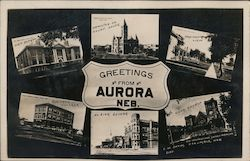 Greetings from Aurora Multi View Postcard