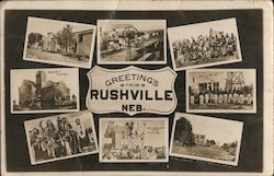 Greetings from Rushville Indian Chiefs, windmill, court house Multiview Postcard