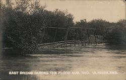 East Bridge during the flood-Aug 1910 Postcard