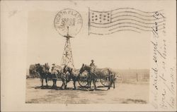 Man with five horse and wagon. Windmill Postcard