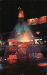 The Fountain on Public Square brilliantly aglow at night Postcard
