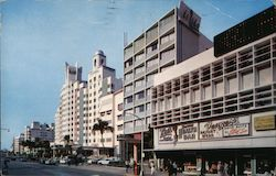 Famous Collins Avenue Hotels, near Lincoln Road Postcard