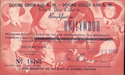 This is your ticket ot Breakfast in Hollywood Postcard