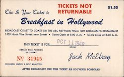 This is Your Ticket to Breakfast in Hollywood Postcard