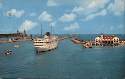 Lake Michigan Showing the Coast Guard Station, Nay Pier and Chicago Lighthouse Postcard