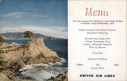 United Airlines Menu - Lone Cypress Point Postcard