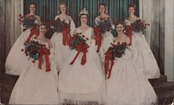 7 Ladies in white dresses with bouquets of red roses Postcard