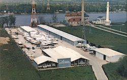 Air View of Marine Sales & Service, Inc. at River Road & Zorn Avenue Postcard
