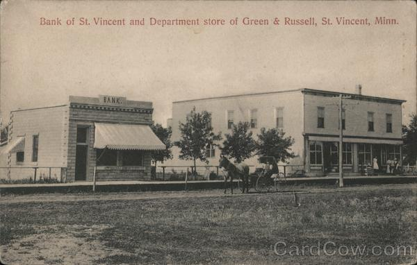 Bank of St. Vincent and Department Store of Green & Russell Minnesota