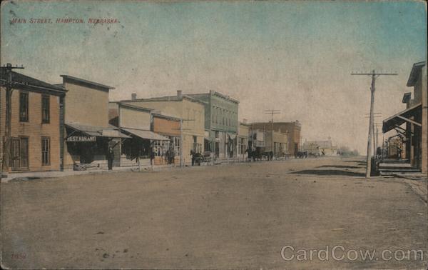 main street hampton ne postcard cardcow com