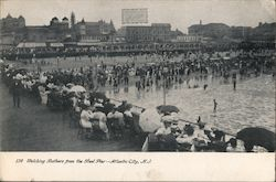 Watching bathers from the Steel Pier Postcard