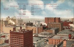 Bird's Eye View of Business District Postcard