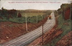 The Great Minneapolis-Lake Minnetonka Electric Highway Twin City Lines Postcard