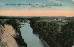Heart River, State Reform School & Gov't. Experiment Station in Distance Postcard