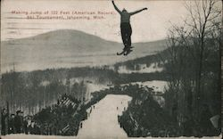 Making 122 Foot Jump, American Record - Ski Tournament Postcard