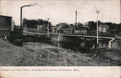 Bridge over Main Street, showing Power House Postcard