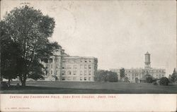 Central and Engineering Halls, Iowa State College Postcard