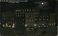 Santa Rita Hotel Tucson Arizona, at night Postcard