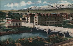 Public Library and Riverside Hotel Postcard