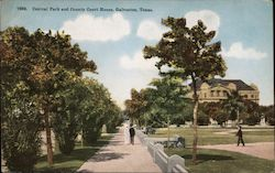 Central Park and County Court House Postcard