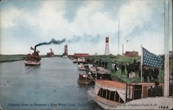 Shipping Scene on the Deep Water Canal - Southern Pacific RR Postcard