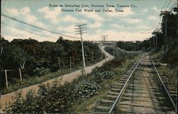 Scene on Interurban Line, Northern Texas Traction Co. Postcard