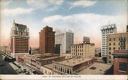 Heart of Business Section of Dallas Postcard