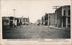 Main Street Looking North From Railroad Postcard