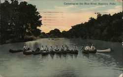 Canoeing on the Blue River Postcard