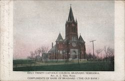 Holy Trinity Catholic Church - Compliments of Bank of Brainard Postcard