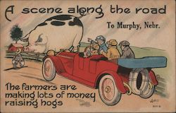 A Scene Along the Road to Murphy - Giant Hog Postcard