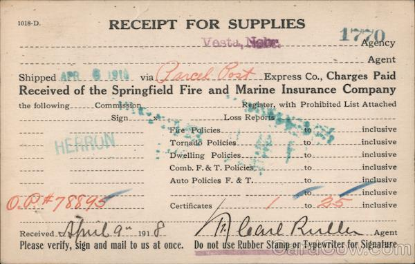 Receipt for Supplies - Springfield Fire and Marine Insurance Company Vesta Nebraska