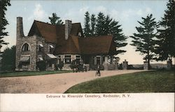 Entrance to Riverside Cemetery Postcard