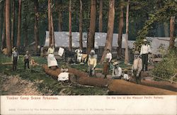 Timber Camp Scene, on the Line of the Missouri Pacific Railway Postcard