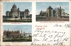 Greetings from Galveston - Ball High School, Ursuline Academy, State Medical College and Sealy Hospital Postcard