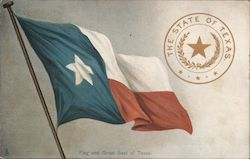 Flag and Great Seal of Texas Postcard