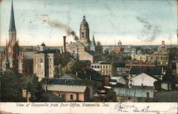 View of Evansville from Post Office Postcard
