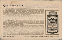 Sal Hepatica Laxative and Uric Acid Solvent, Bristol-Myers Company Postcard