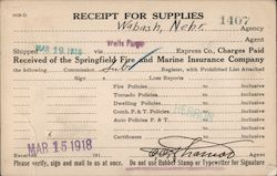 Receipt for Supplies, Wells Fargo Express Postcard