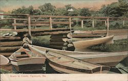 Boats in Creek Postcard