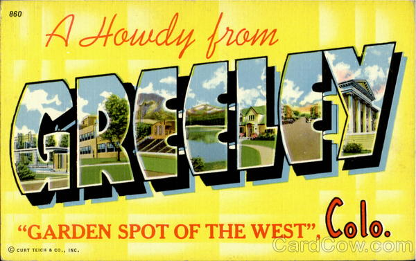 A Howdy From Greeley Greely Colorado Large Letter