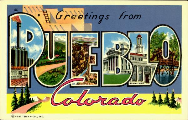 Greetings From Pueblo Colorado Large Letter