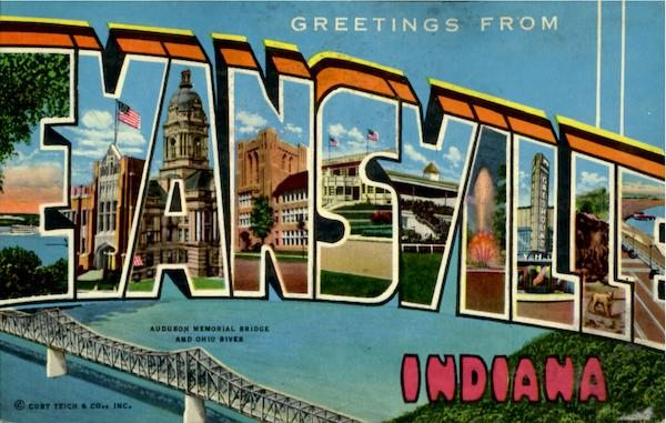 Greetings From Evansville Indiana Large Letter