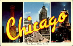 Three Famous Chicago Tower Postcard