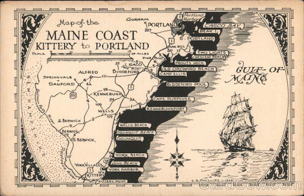 Map of the Maine Coast, Kittery to Portland