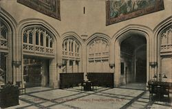 Interior of Library at Vassar College Postcard