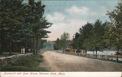 Boulevard and Boat House, Whalom Park Postcard