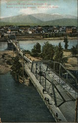 Temporary Bridge Across Missoula River, Mount Lolo in the Distance Postcard