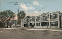 Davenport Park and Bangor Motor Co. Garage Postcard