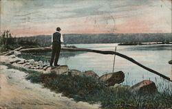 Fishing, Togus Lake Postcard